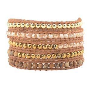NEW! Boho Crystal Leather Wrap Bracelet